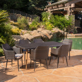 Outdoor 7Pc Multibrown Wicker Dining Set w/ Water Resistant Cushions - NH070103