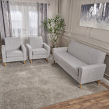 Mid-Century Modern 3-Piece Fabric Chairs & Sofa Living Room Set - NH825203