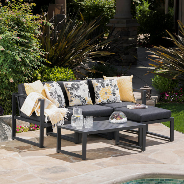 Modern Outdoor Dark Gray Aluminum Sectional Sofa Set with Black Cushions - NH290103