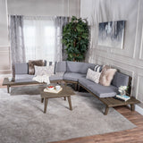 Indoor Minimalist V Shaped 4 Piece Grey Finished Acacia Wood Sectional Sofa Set with Grey Cushions - NH906203