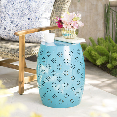 Outdoor Modern Floral Lace-Cut Metal Accent Side Table - NH065103