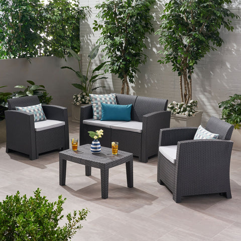 Outdoor 4 Piece Faux Wicker Rattan Chat Set with Water Resistant Cushions - NH516203