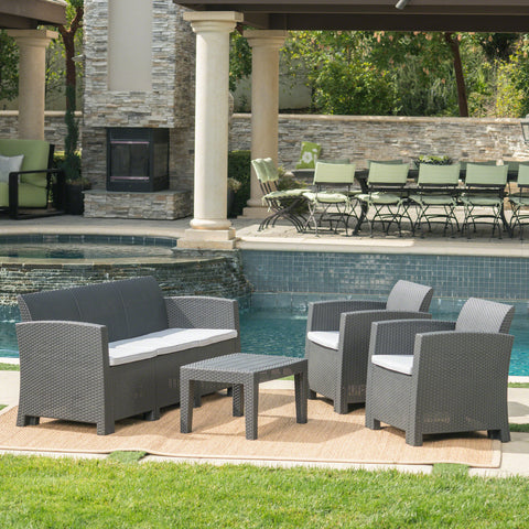 Outdoor 4 Piece Charcoal Faux Wicker Rattan Style Chat Set - NH126203