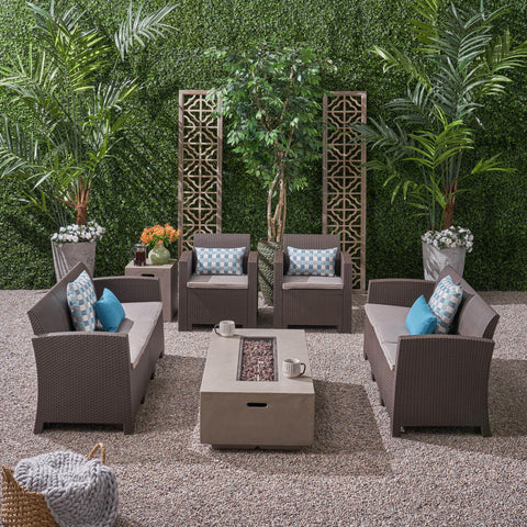 Outdoor 8-Seater Wicker Print Chat Set with Fire Pit and Tank Holder - NH713603