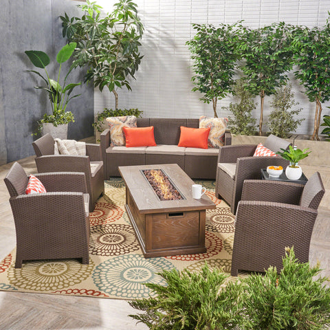 Outdoor 7-Seater Wicker Print Chat Set with Fire Pit and Tank Holder - NH123603