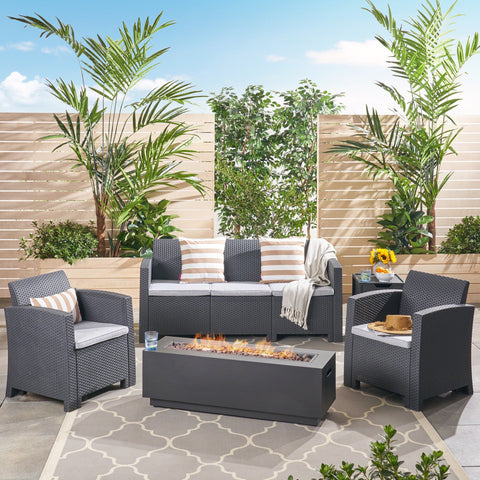 Outdoor 5-Seater Wicker Print Chat Set with Fire Pit and Tank Holder, Charcoal with Light Gray and Dark Gray - NH533603