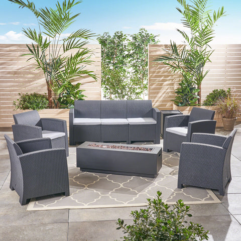 Outdoor 7-Seater Wicker Print Chat Set with Fire Pit and Tank Holder, Charcoal with Light Gray and Dark Gray - NH633603