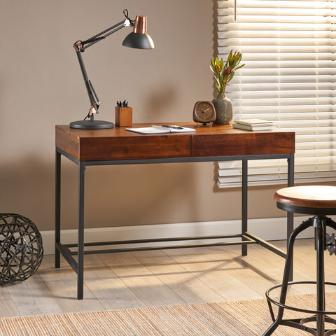 Industrial Dark Oak Acacia Wood Storage Desk with Rustic Metal Iron Accent - NH751203
