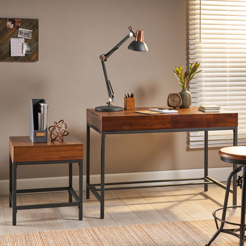 Industrial Dark Oak Acacia Wood Storage Side Table and Desk Set - NH851203
