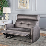 Plush Cushion Tufted Back Microfiber Loveseat Recliner - NH703103