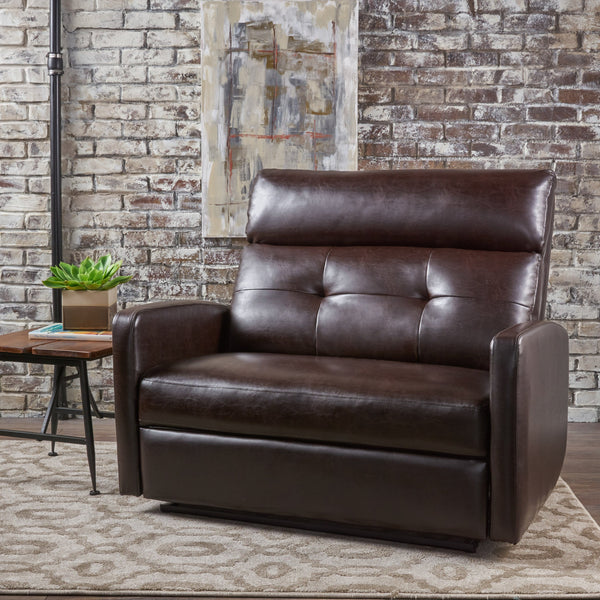 Plush Cushion Tufted Back Leather Loveseat Recliner - NH303103
