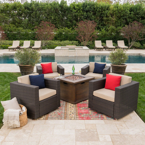 Outdoor 5 Piece Wicker Swivel Club Chairs with Brown Gas Fire Pit - NH728203