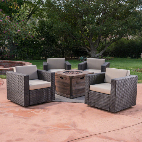 Outdoor 5 Piece Wicker Swivel Club Chair and Fire Pit Set, Dark Brown with Beige and Brown - NH153403