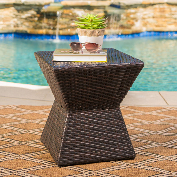 "Outdoor 16"" Multi-brown Wicker Square Side Table - NH474103"
