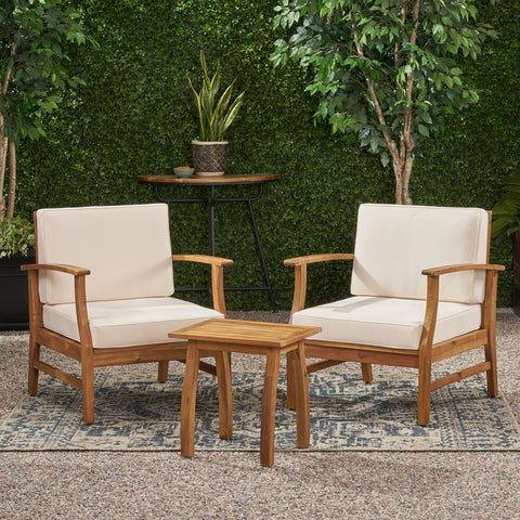 Outdoor 2 Seater Acacia Wood Chat Set with Cushions - NH822203