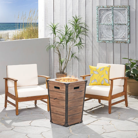 Outdoor 2 Piece Acacia Wood Club Chair Set with Cushions and Fire Column - NH728703