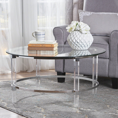 Modern Round Tempered Glass Coffee Table with Acrylic and Iron Accents - NH313203