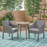 Outdoor 3 Piece Wood  and Wicker Bistro Set - NH082503