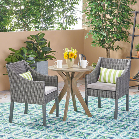 Outdoor 3 Piece Acacia Wood and Wicker Bistro Set - NH930503
