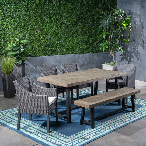 Outdoor 6 Piece Dining Set with Wicker Chairs and Bench - NH642603