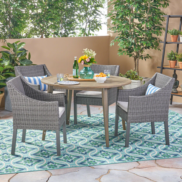 Outdoor 5 Piece Wood and Wicker Dining Set - NH262503