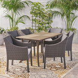 Outdoor 7 Piece Wood and Wicker Dining Set, Gray and Gray - NH921503