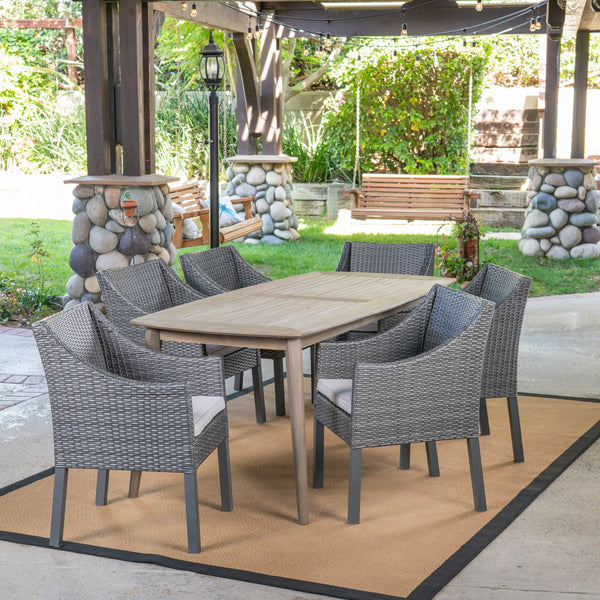 Outdoor 7 Piece Wood and Wicker Dining Set, Gray and Gray - NH271503