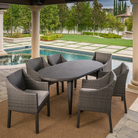 Outdoor 7 Piece Wicker Oval Dining Set with Water Resistant Cushions - NH936203