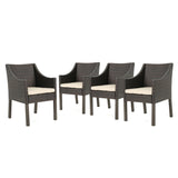 Outdoor Wicker Dining Chairs with Water Resistant Cushions (Set of 4) - NH958303