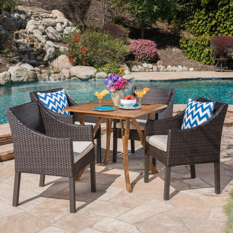 Outdoor 5 Piece Acacia Wood/ Wicker Dining Set with Cushions, Teak Finish and Multibrown with Beige - NH903403