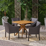 Outdoor 5 Piece Wood and Wicker Dining Set - NH391503