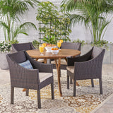 Outdoor 5 Piece Acacia Wood and Wicker Dining Set, Teak with Multi Brown Chairs - NH610503