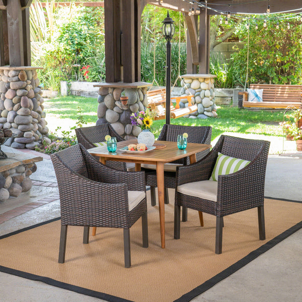 Outdoor 5 Piece Wood and Wicker Dining Set, Teak and Multi Brown - NH611503