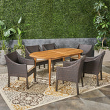 Outdoor 7-Piece Acacia Wood Dining Set with Wicker Chairs - NH170603
