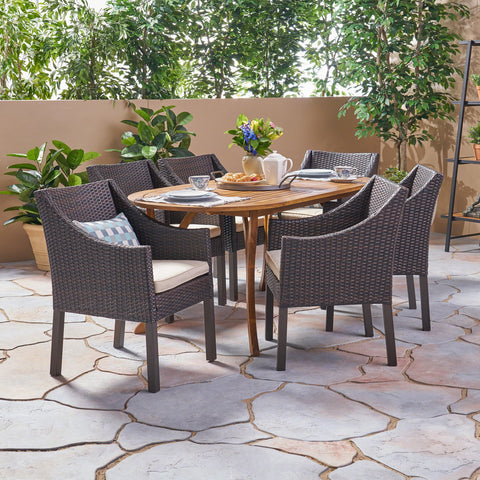Outdoor 7 Piece Acacia Wood and Wicker Dining Set, Teak with Multi Brown Chairs - NH820503