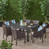 Outdoor Aluminum and Wicker 8 Seater Dining Set - NH983903