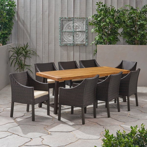 Outdoor Wood and Wicker 8 Seater Dining Set - NH836903