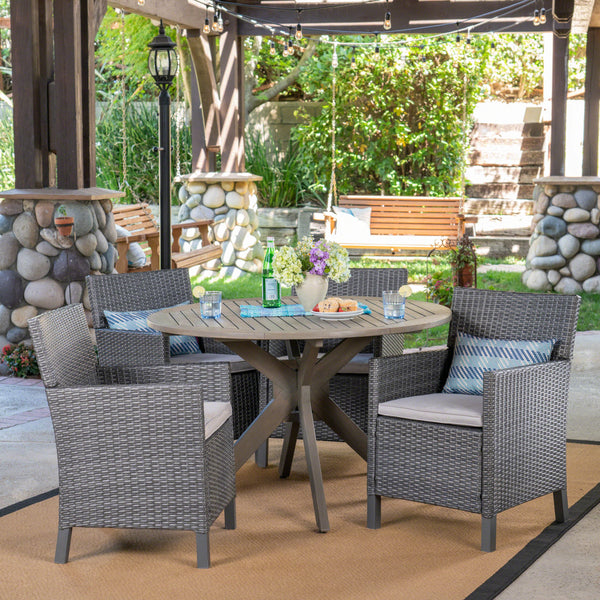 Outdoor 5 Piece Wood and Wicker Dining Set, Gray and Gray - NH501503