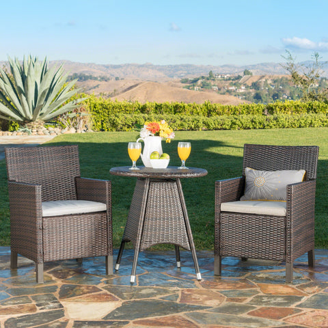 Outdoor 3 Piece Multibrown Wicker Round Dining Set with Light Brown Water Resistant Cushions - NH843203