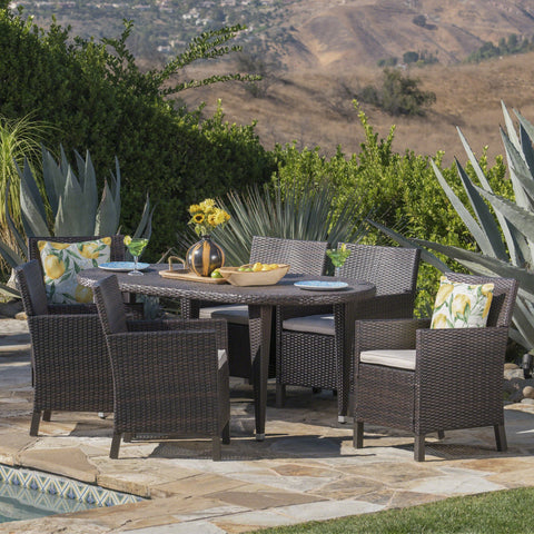 Outdoor 7 Piece Wicker Oval Dining Set with Water Resistant Cushions - NH756203