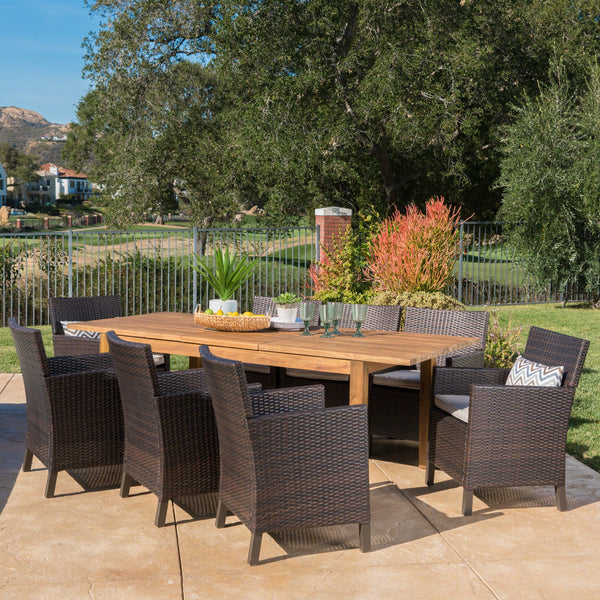 Outdoor 9 Piece Multibrown Wicker Dining Set with Teak Finished Acacia Wood Expandable Dining Table and Light Brown Water Resistant Cushions - NH575303