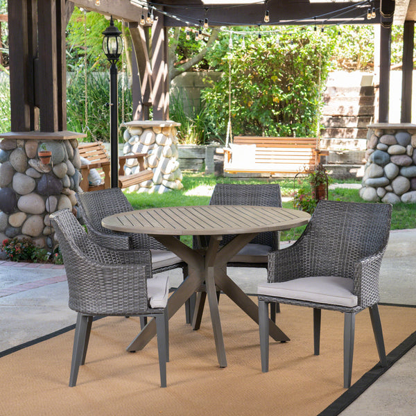 Outdoor 5 Piece Wood and Wicker Dining Set, Gray and Gray - NH601503