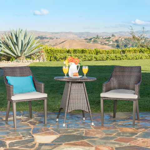 Outdoor 3 Piece Multibrown Wicker Round Bistro Set - NH174203