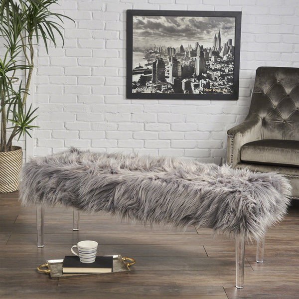 Glam Faux Fur Short and Straight Furry Ottoman - NH286203