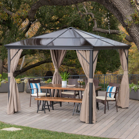 Outdoor 10 x 10 Foot Rust Proof Aluminum Framed Hardtop Gazebo with Curtains - NH873303