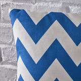 Indoor Blue and White Zig Zag Striped Water Resistant Square Throw Pillow - NH638203