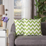 Indoor Zig Zag Striped Water Resistant Square Throw Pillows (Set of 2) - NH048203