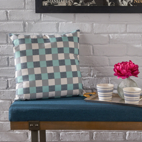 Indoor Blue and White Plaid Water Resistant Square Throw Pillow - NH188203