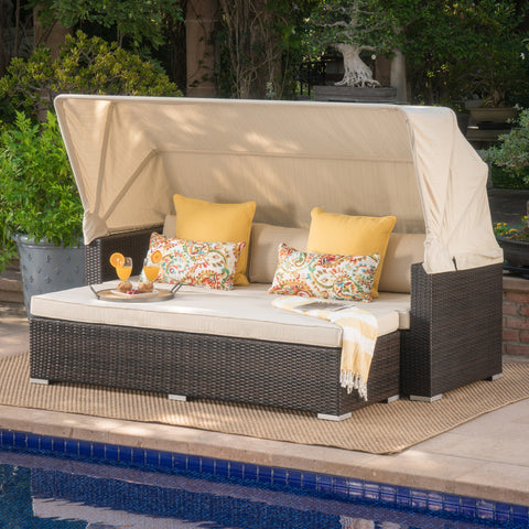 Outdoor Aluminum Framed Wicker Sofa with Water Resistant Canopy - NH091203