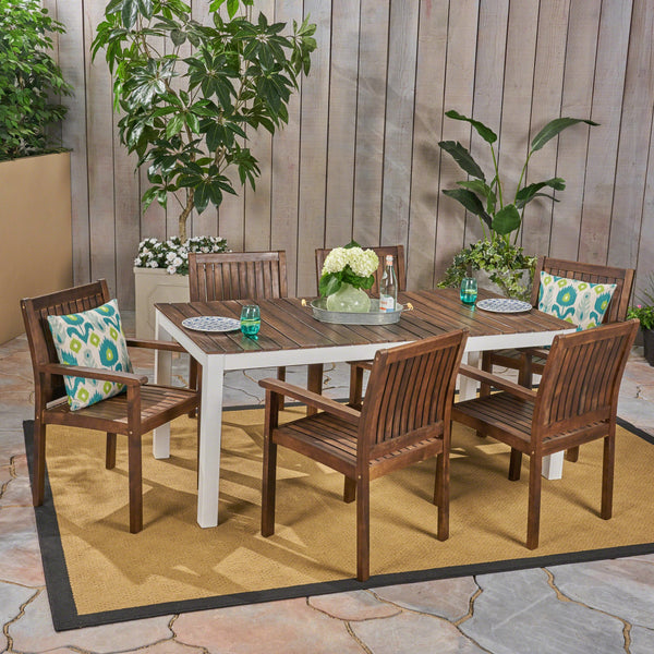 Outdoor 7-Piece Acacia Wood Dining Set, Dark Brown and White - NH240603